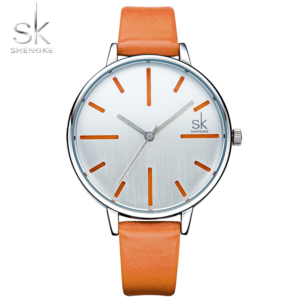Shengke New Fashion Brand Leather Strap Quartz Women Watches Ladies Dress Mixmatch Watch Female Casual Gold Watches Reloj Mujer