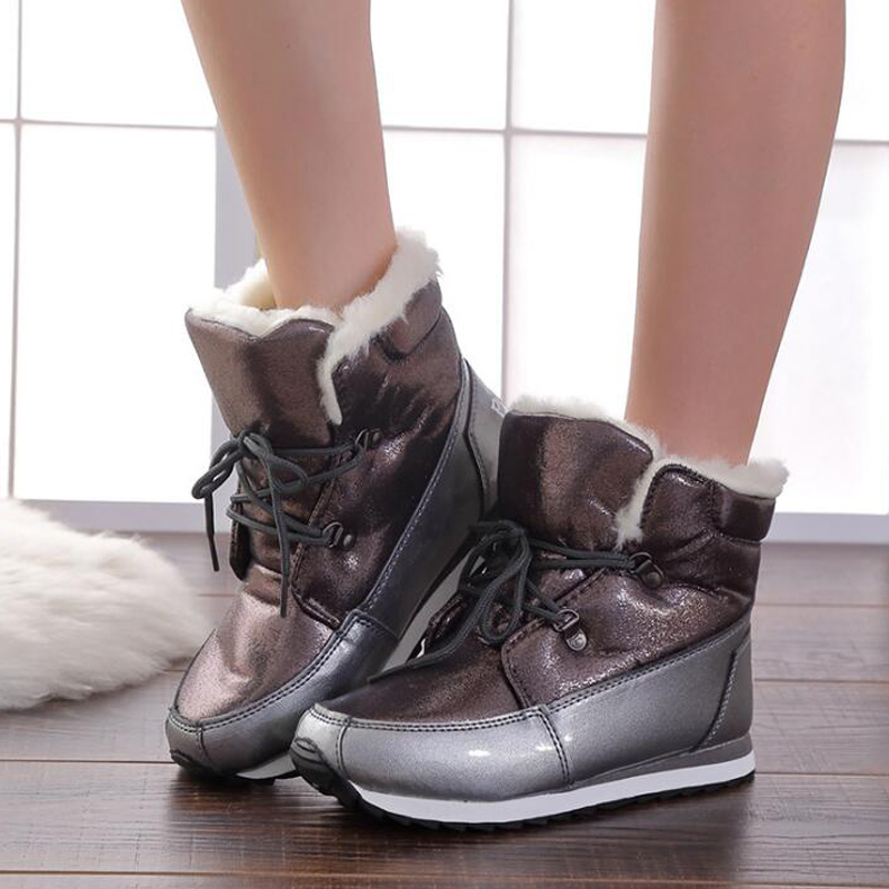 Women boots 2018 warm winter shoes women thick plush flat non-slip snow boots high quality size 36-41 недорго, оригинальная цена