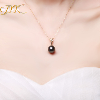 JYX 18 K Gold 12.5mm Black Tahitian Pendant Necklace with Diamonds 18