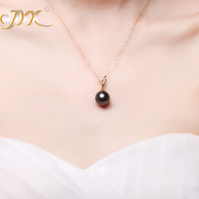 JYX 18 K Gold 12.5mm Black Tahitian Pendant Necklace with Di