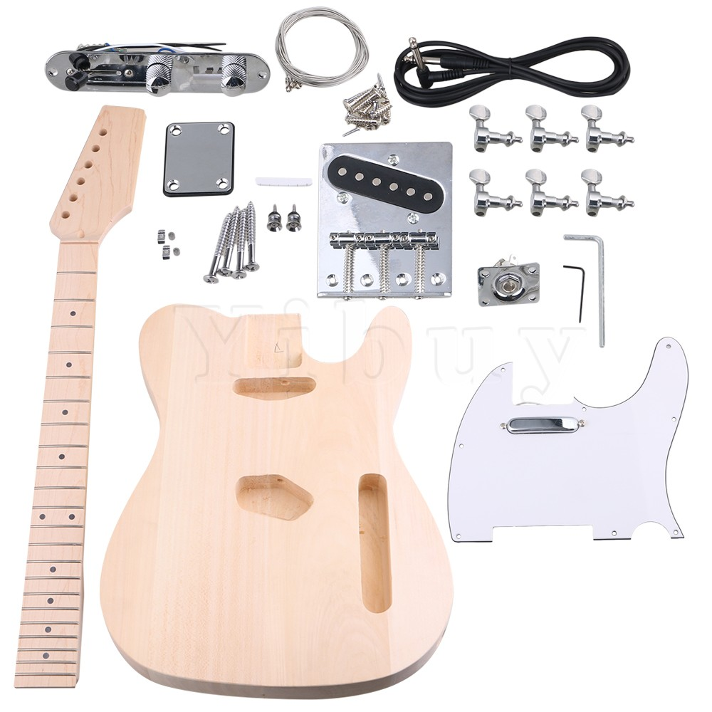 Yibuy Maple DIY Electric Guitar Body Neck Fingerboard with Tuning Pegs and 2 Single Coil Pickips Suit Accessories matrix for laptop 15 6 n156bge l21 rev c1 n156bge l21 lcd screen normal led display 1366 768 hd glossy