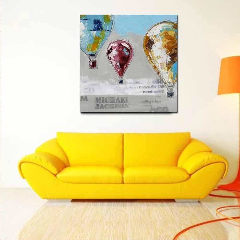 100% Handmade Cartoon Abstract Hot Air Balloon Canvas Oil Paintings ...