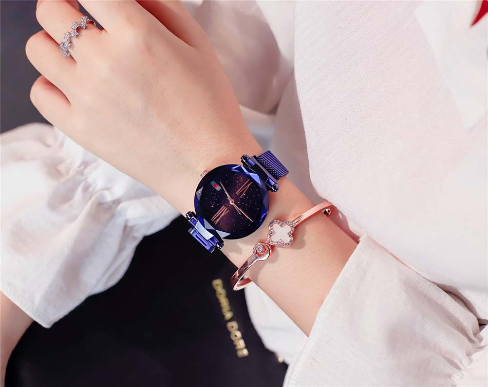 Luxury Rose Gold  Women Watches Minimalist Starry Sky Magnet Buckle Ladies Watch Fashion Casual Female Waterproof  Wristwatch (5)
