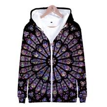 2019 New 3D Notre Dame de Paris Casual print Long Sleeve Zipper Hoodies Sweatshirt Women/men Hot Sale trend zipper clothes
