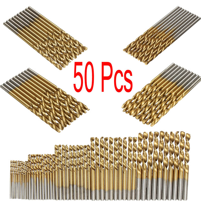 50pcs A Set HSS Titanium Coated Twist Drill Bit Set for Metal Drilling Woodworking Drill Sharpener 1/1.5/2/2.5/3mm Saw Set Tool new 10pcs jobbers mini micro hss twist drill bits 0 5 3mm for wood pcb presses drilling dremel rotary tools