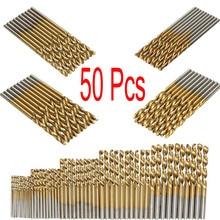 50pcs A Set HSS Titanium Coated Twist Drill Bit Set for Metal Drilling Woodworking Drill Sharpener 1/1.5/2/2.5/3mm Saw Set Tool