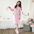 M-2XL Lady Casual Camisola Confortável Dos Desenhos Animados Menina vestido de Noite Roupa Interior Camisola Salão Sono das Mulheres Pijamas de algodão