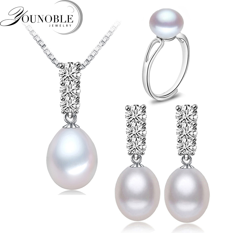 YouNoble Trendy natural pearl Kalung Set wanita freshwatewr pearl Jewelry Kalung Earring Set Perhiasan Afrika Putih 45 cm