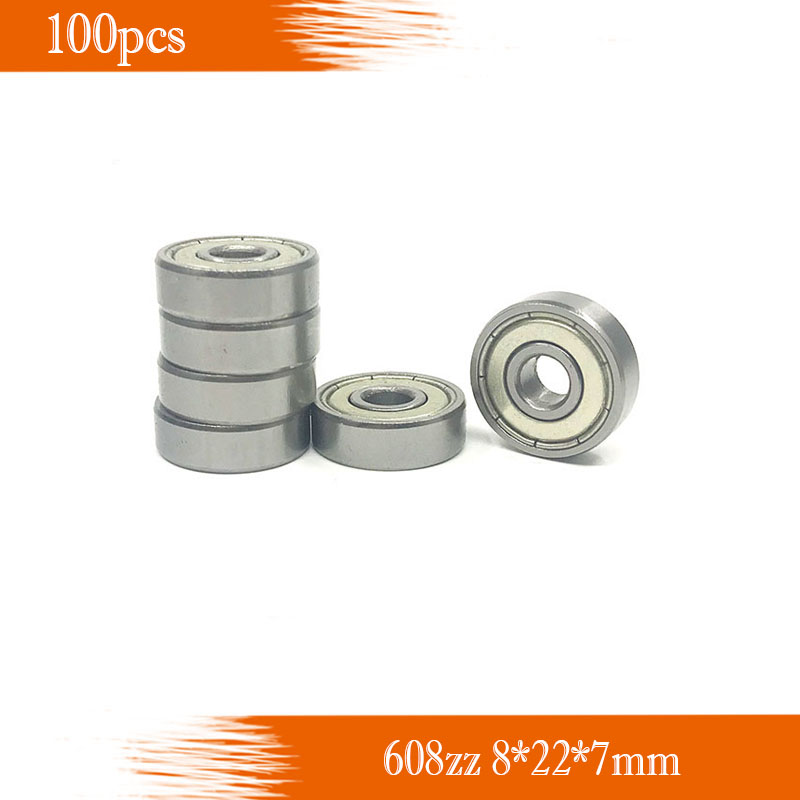 Free Shipping 100pcs 608zz 608z 8x22x7 Mm Bearing Abec-7  Carbon Miniature 608 Zz Longboard Skateboard Ball Bearings 608-2z