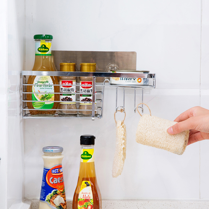 Free Punch Stainless Steel Trimming Wall Hanging Shelf Kitchen Wall Quilts Shelf Storage Rack in Bathroom Shelves from Home Improvement