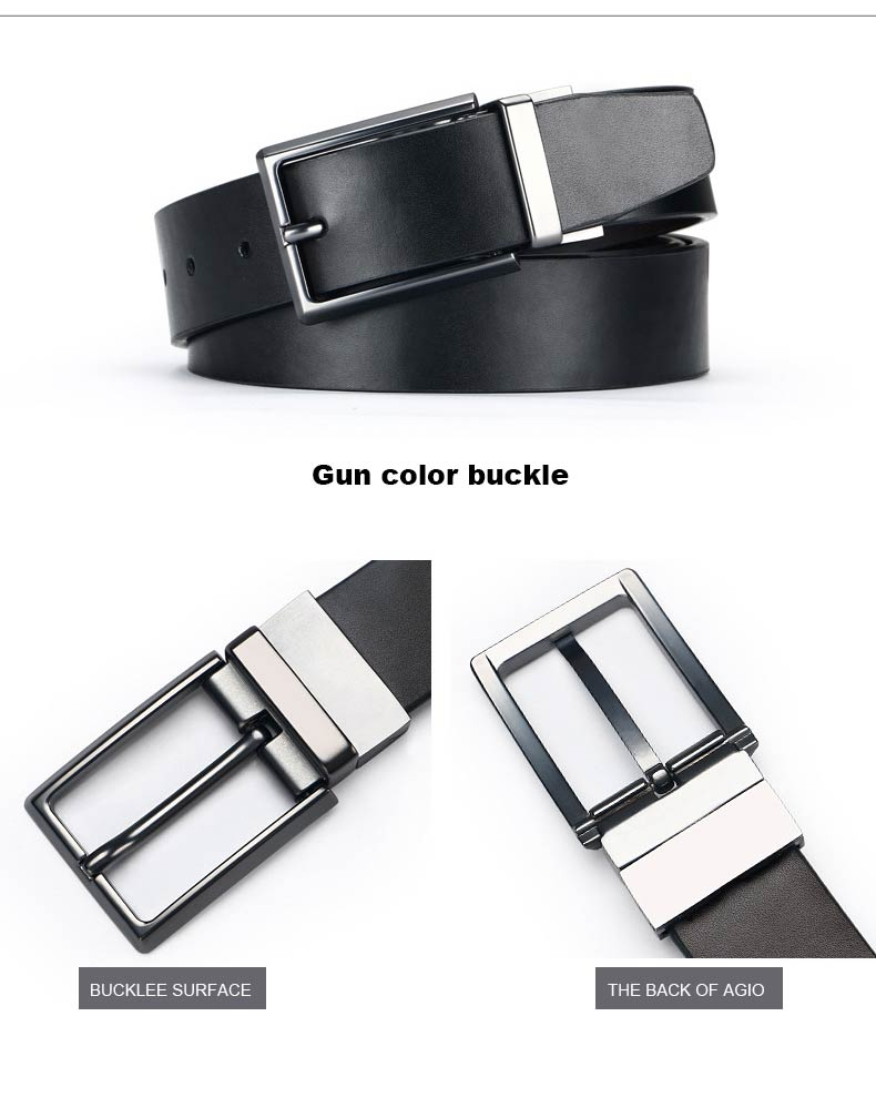 DOULILU Double-sided available Two-layer leather pin buckle belt Men's double-sided leather casual fashion belt rotation buckle  For Men Jeans Casual Belt Pin Buckle Masculine Cummerbund1 (10)