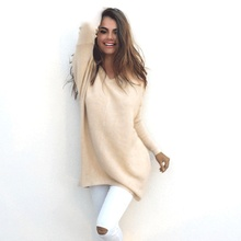 2019  autumn and winter cute solid pullover long woman sweater Europe American style v-neck sleeve female