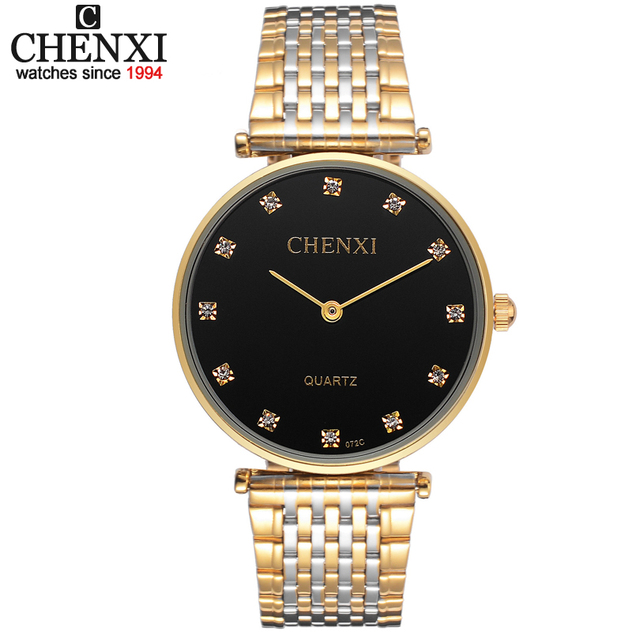 Ultrathin watches Lovers Rhinestone watch for men stainless steel Men's Women's