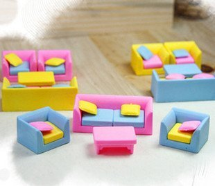 free shipping Wholesale 100set/lotSimulation of Rubber Rubber Rubber Sofa Cartoon Korean Furniture Rubber Rubber Rubber  Eraser
