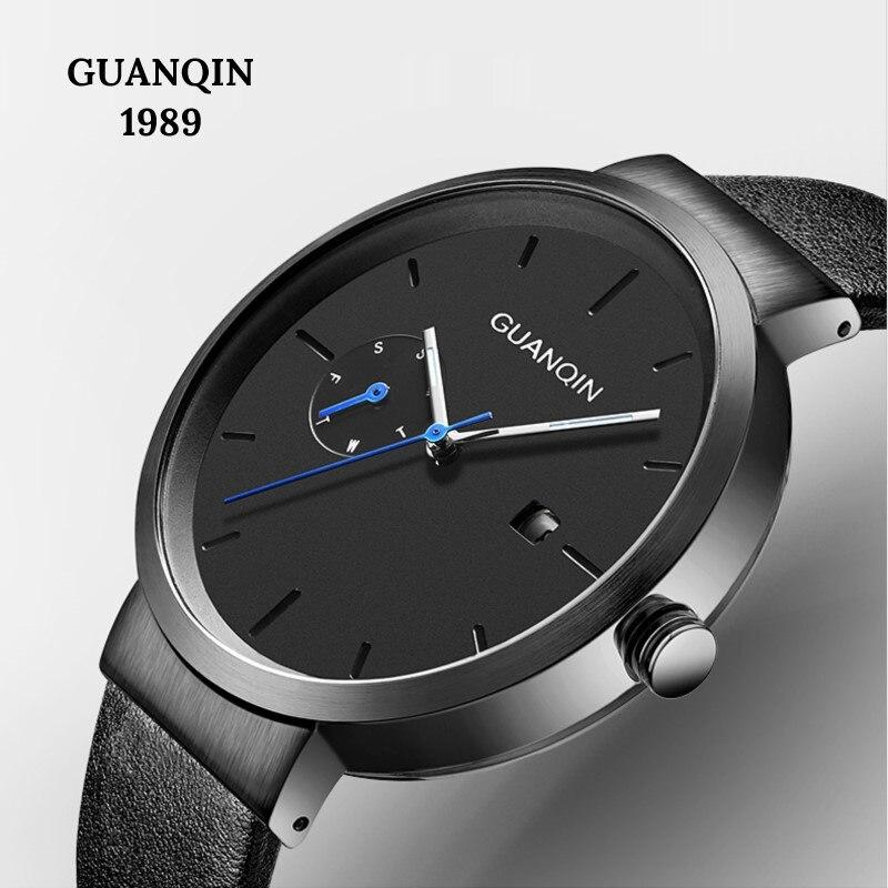 Relogio masculino Original GUANQIN Fashion Men's Watches Top Brand Simple Quartz Watch Men Calendar Week Luminous Sapphire Clock