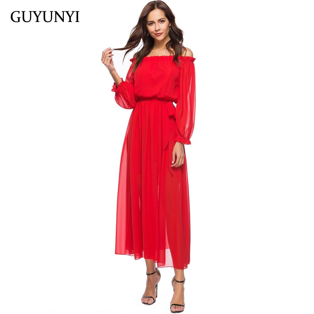GUYUNYI 2018 Sexy Party Dresses Solid Red Ruffles Slash Neck Off Shoulder Women Chiffon Bohemia Elegant Maxi Dress CX801