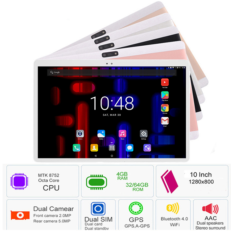 Fast Shipping 2019 New Google 10 Inch Tablet PC 3G 4G LTE Android 8.0 Octa Core 4GB RAM 64GB ROM WiFi GPS 10.1 IPS 1280*800+Gift