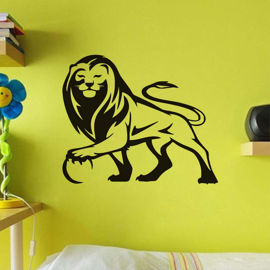Lion Wall Sticker Home Decor Vinyl Line Drawing Animal Wall Decal ...