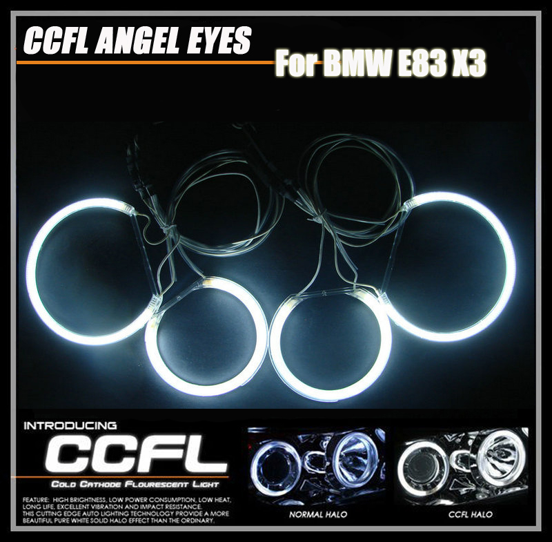 High power CCFL Headlights XENON CCFL ANGEL EYES HALO rings 8000K ccfl auto lamps for BMW E83 X3 for uaz patriot ccfl angel eyes rings kit non projector halo rings car eyes free shipping