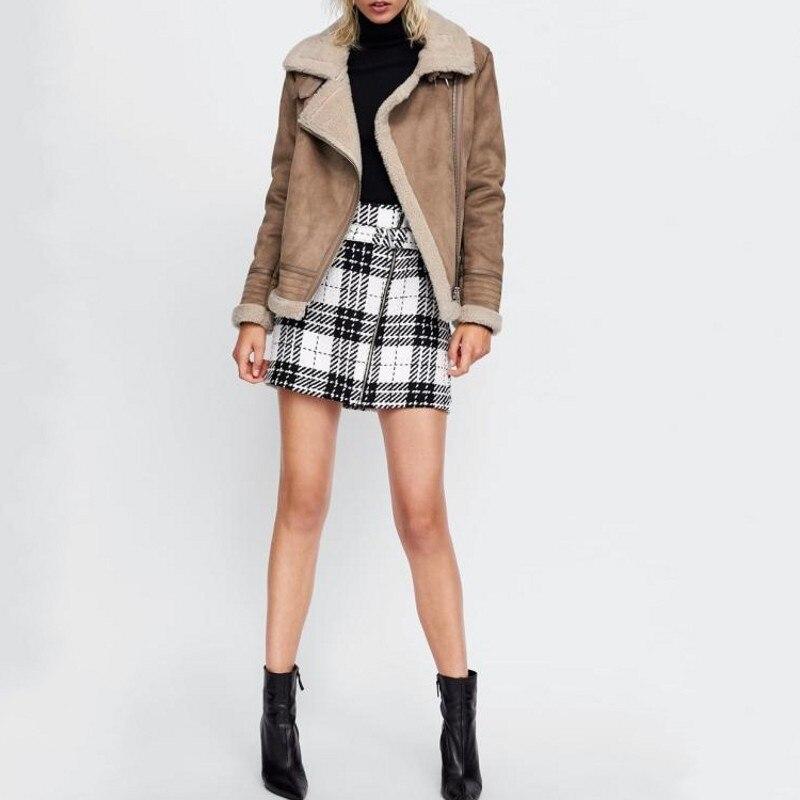 Veste Femme Doublure Décontracté En 1 Mode Polaire 2 Biker Fit Nouvelle Slim Survêtement Faux Daim Zipper Solide Femelle 2019 Poche f4RP7xqn