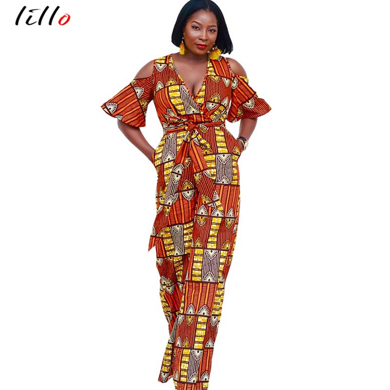 8a1e7680318 Plus Size Mixed Print Wrap Jumpsuit Women Milk Silk Soft Wide Leg Pant Lace  Up Sexy. US  13.86. (11). 53 orders. Free Shipping African ethnic style  print ...