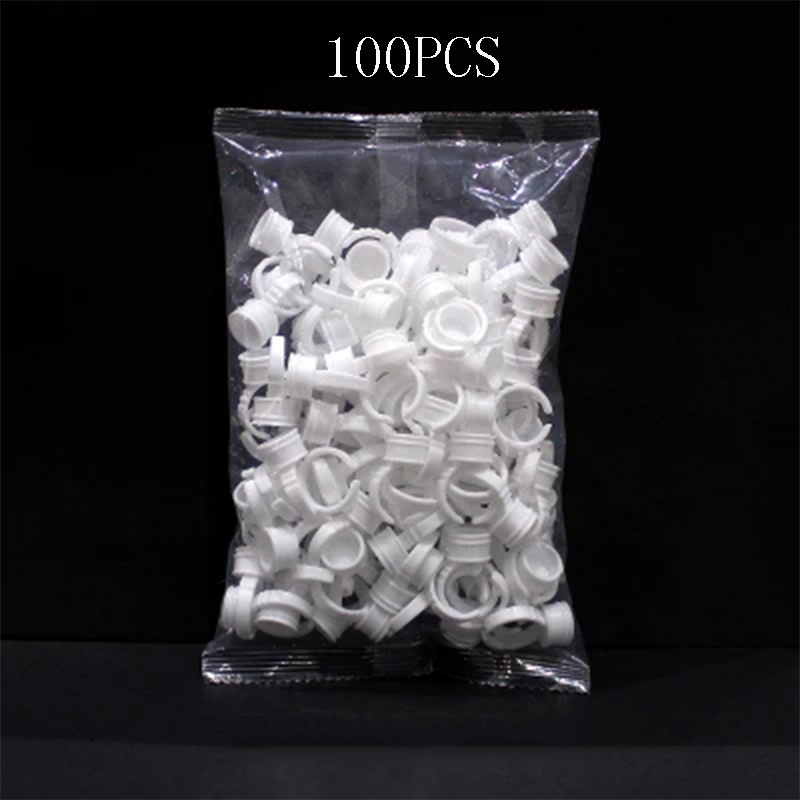 100pcs Plastic Tattoo Ink Ring For Eyebrow Permanent Makeup All Sizes White Tattoo Ink Holders Tattoo Accessory Tattoo Supply