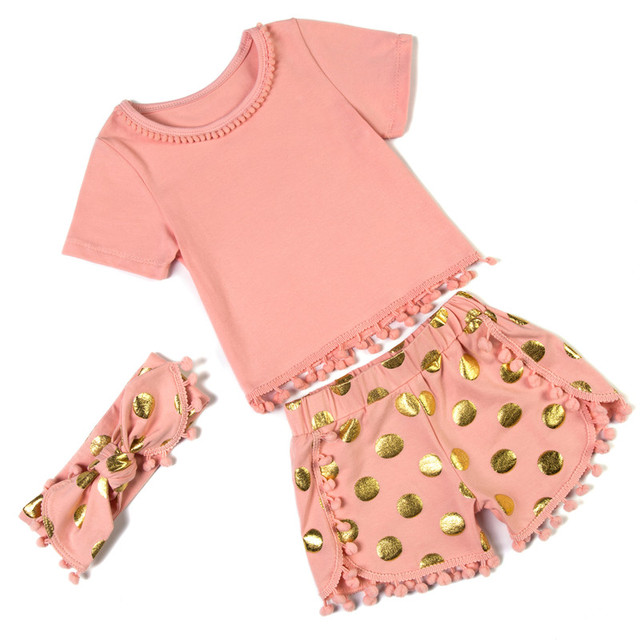 e91f4dca8d5 Pompom Cotton Baby Girls Outfit Gold Polka Dot Kids Infant Newborn Set Baby  Girl Clothes KP