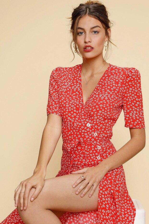 French Women midi Dress Classic Tea Dress Skirt Short Sleeve One Button Wrap Dress
