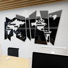 Nordic style Ins creative map DIY Childrens room bedroom living TV background wall decoration 3D acrylic stickers
