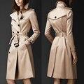 Англия Большой Бренд Британский Стиль Зимняя Одежда С Длинным Рукавом Двубортный Регулируемый Талия Длинные Классические Тренчи Женщины