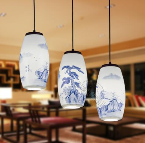 Chinese style hand-painted Ceramic glass blue and white ceramic lamp staircase high-end hotel lamp tea pendant light ZH