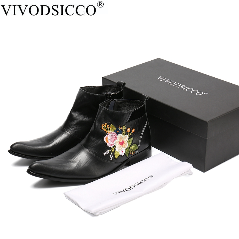 VIVODSICCO New Fashion Genuine Leather Men Dress Boots flowers embroider Pointed Toe Ankle Boots British Style Motorcycle Boots new fashion men boots motorcycle handmade wing genuine leather business wedding boots casual british style wine red boots 8111