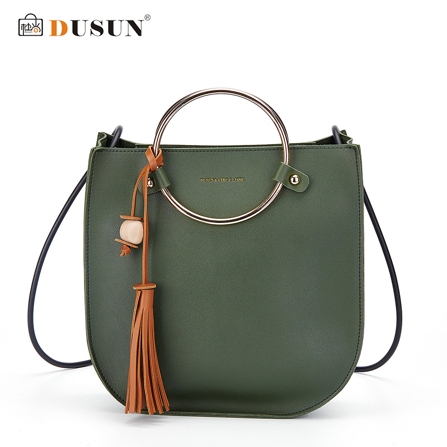DUSUN Luxury Brand Women Crossbody Bag Soft Leather Zipper Handbag High Quality Women's Rings Handbags Ladies Tassel Casual Tote dusun 2016 new women handbag genuine leather women bag luxury brand high quality bag casual tote women handbags bolsa feminina