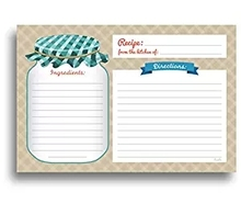home kitchen Recipe Cards - Double Sided Cards, 4x6 inches Perfect for house-warming parties, invitations, or mason jar kits
