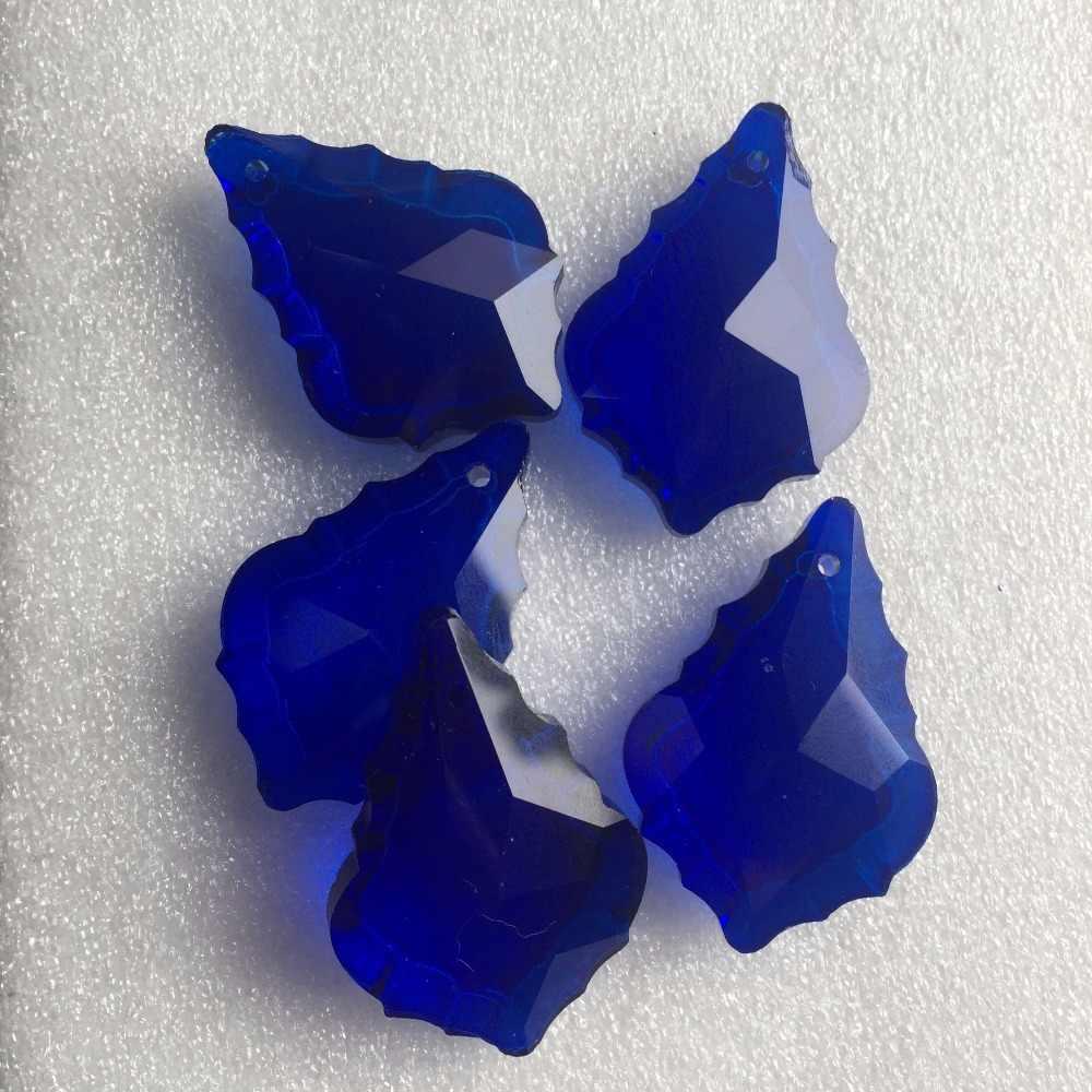 100 шт./лот 38 мм Темный Сапфир хрустальным кленовый лист формы подвесные люстры