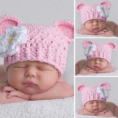 8370c01ab9d1d Bebé recién nacido Niñas lindo niños pequeños Margarita flor ganchillo  Beanie hat CAP de punto