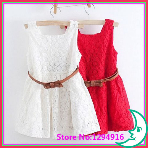 2014 summer new models Kids Belt Lace Vest Dress Princess Girls dress red~white baby - Fashion Zoon No.1 store