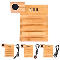 5V 3 0A 3 USB Ports Bamboo Wood Charger Base Stand Mobile Phone Tablet Multiple Holes
