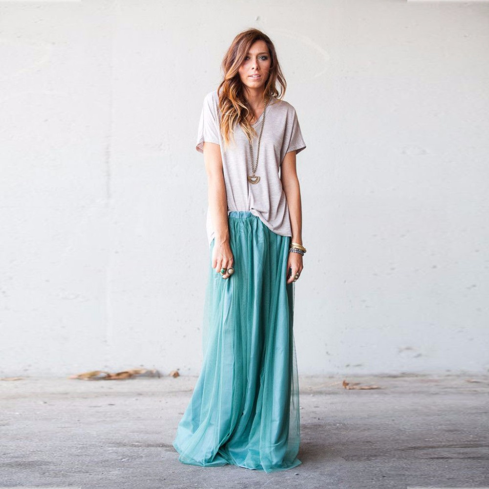 Buy new style maxi skirts a line floor for Tulle skirt under wedding dress