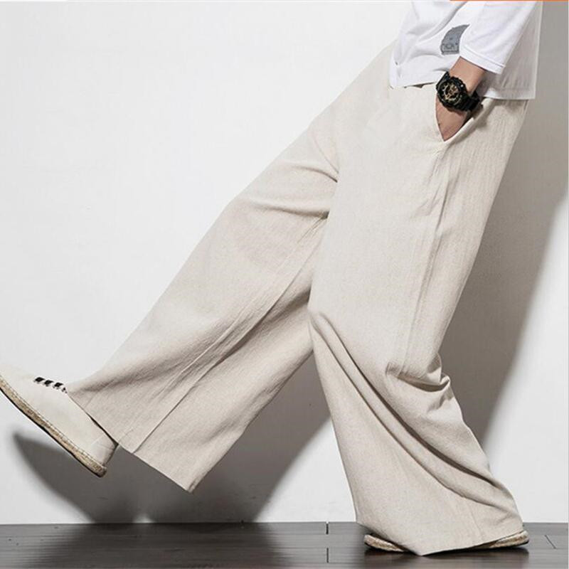Men's China Style Straight Trousers Solid Comfortable Loose Wide Leg Pants Plus Size M-7XL White Red Black