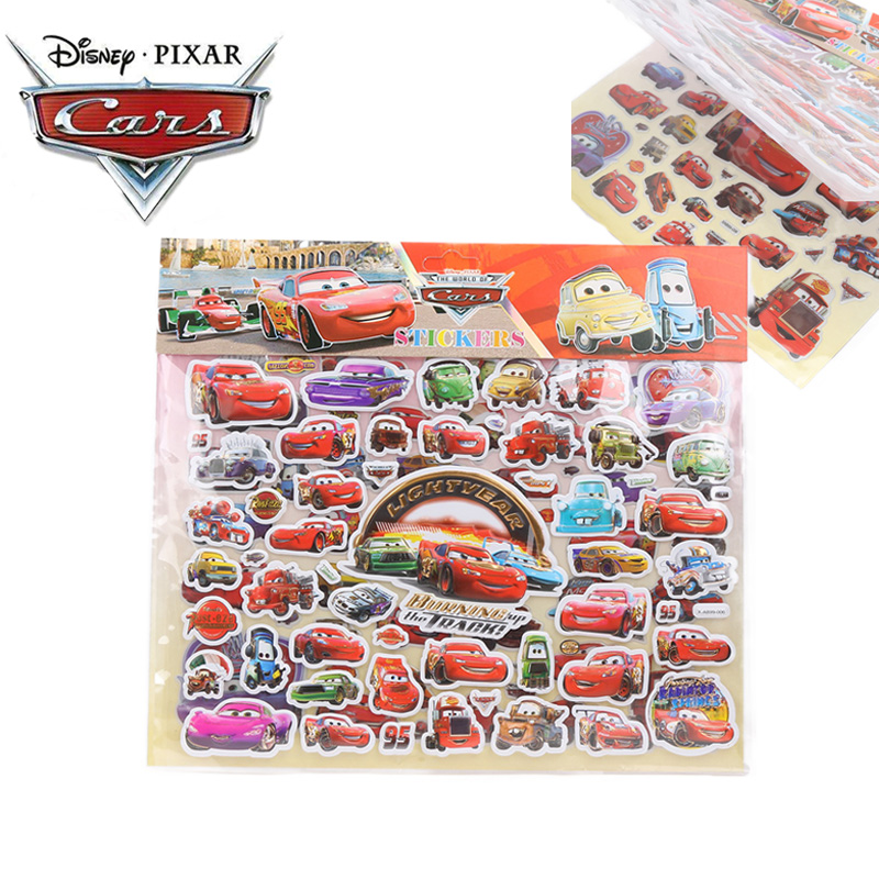 2019 Disney Pixar Cars 3 Toys Book Stickers Lightning McQueen Mater Jackson Black Storm Ramirez PVC Waterproof Sticker