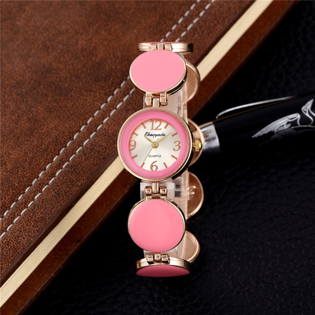 2018 Fashion Pink Stainless Steel Women Small Bracelet Watches Ladies Casual Dre