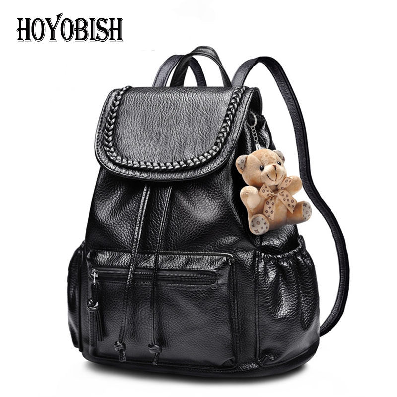 HOYOBISH Pu Leather Backbag School Bags For Teenager Girls and Boys Women Casual Backpack With Bear Travel Escolar Mochila OH007