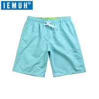 IEMUH Brand Men Casual Shorts Solid 11 Color Beach Shorts Loose Elastic Waist Breathable Men S