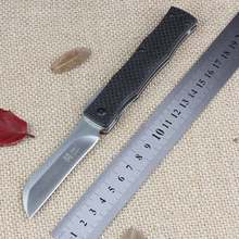 best Japan razor D2 steel folding knife outdoor utility pocket Knives hunting EDC hand tools carbon fiber handle real knifes