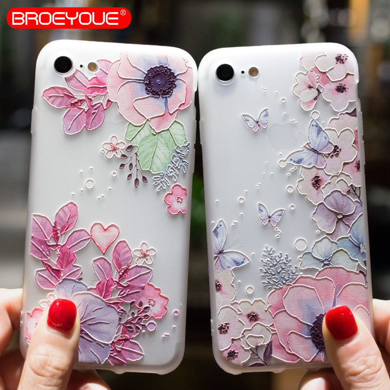 BROEYOUE Case For Xiaomi Redmi 4A 4X Note 4 4X 5A Mi A1 5X Relief Silicone Case For iPhone 5 5S SE 6 6S 7 8 Plus X Cases Cover in Fitted Cases from Cellphones Telecommunications
