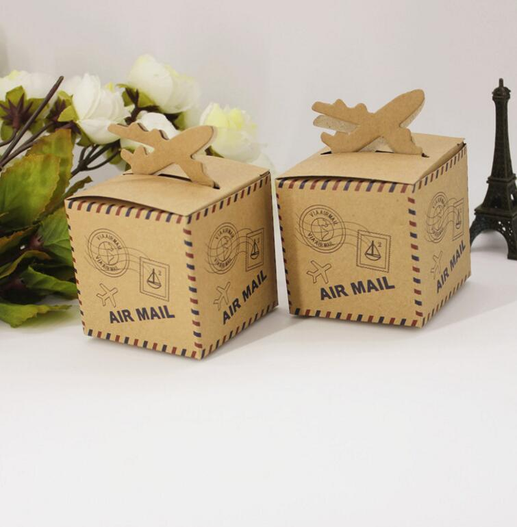 1-18 Joy, 50pcs/lot Wedding Decor Air Mail Design Kraft Paper Candy Box Travel Themed Party Supplies