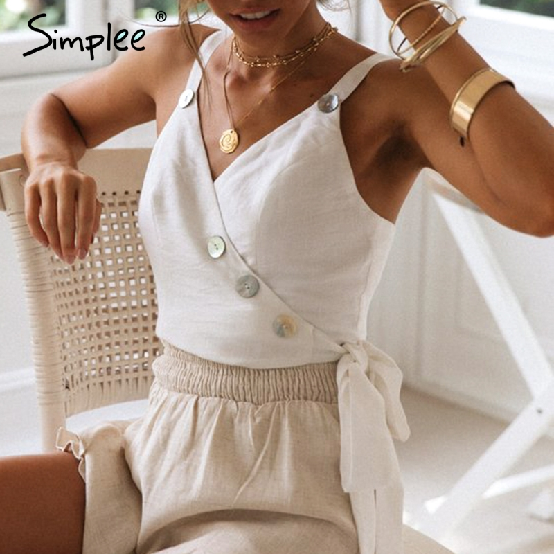 Simplee Sexy spaghetti strap women cami   tops   Elegant v-neck white female   tank     tops   Button side lace up ladies summer   tops   2019