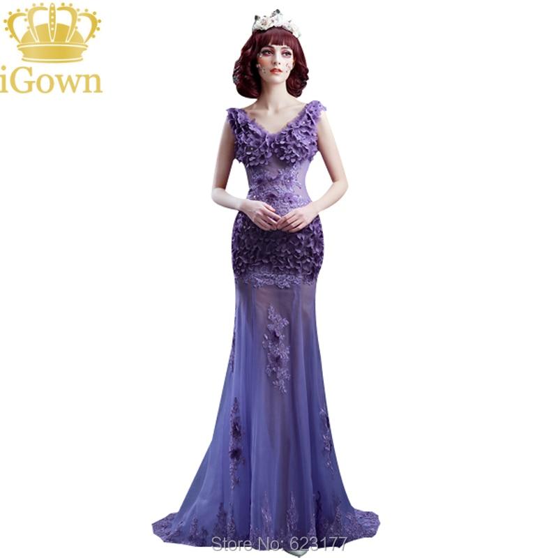 Compra púrpura delgada vestidos de fiesta online al por mayor ...