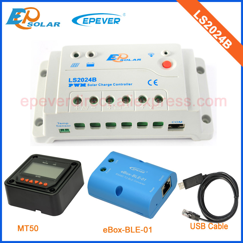 20A 24V 600W Solar panels system Low price free shipping PWM controller LS2024B 20amps Solar regulator MT50 and ble eBOX